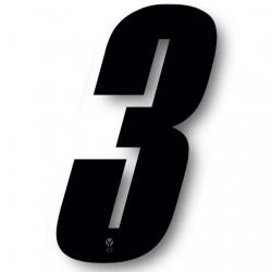 N°3 Numero de plaque YCF Noir - 123x80mm (vendu par 3)