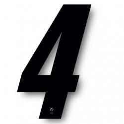 N°4 Numero de plaque YCF Noir - 123x80mm (vendu par 3)