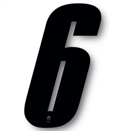 N°6 Numero de plaque YCF Noir - 123x80mm (vendu par 3)