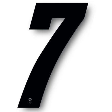 N°7 Numero de plaque YCF Noir - 123x80mm (vendu par 3)