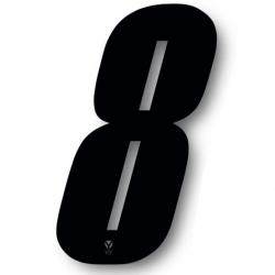 N°8 Numero de plaque YCF Noir - 123x80mm (vendu par 3)
