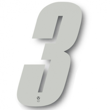 N°3 Numero de plaque YCF Blanc - 123x80mm (vendu par 3)