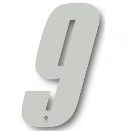 N°9 Numero de plaque YCF Blanc - 123x80mm (vendu par 3)