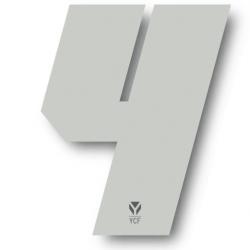 N°4 Numero de plaque YCF Blanc - 108x105mm (vendu par 3)