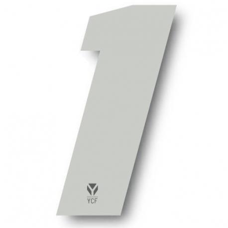 N°1 Numero de plaque YCF Blanc - 108x105mm (vendu par 3)