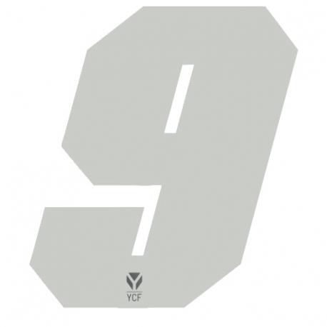 N°9 Numero de plaque YCF Blanc - 108x105mm (vendu par 3)