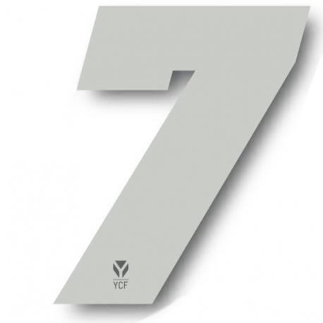 N°7 Numero de plaque YCF Blanc - 108x105mm (vendu par 3)