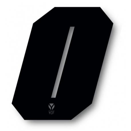 N°0 Numero de plaque YCF Noir - 108x105mm (vendu par 3)
