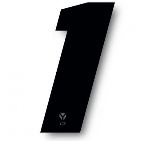 N°1 Numero de plaque YCF Noir - 108x105mm (vendu par 3)