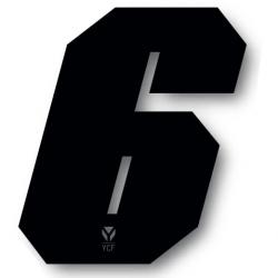 N°6 Numero de plaque YCF Noir - 108x105mm (vendu par 3)