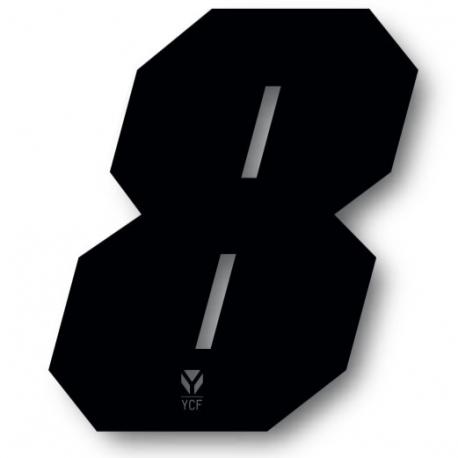 N°8 Numero de plaque YCF Noir - 108x105mm (vendu par 3)