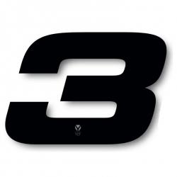 N°3 Numero de plaque YCF Noir - 117x172mm (vendu par 3)