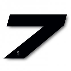 N°7 Numero de plaque YCF Noir - 117x172mm (vendu par 3)