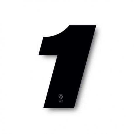N°1 Numero de plaque YCF Noir - 117x172mm (vendu par 3)