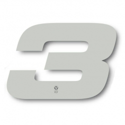N°3 Numero de plaque YCF Blanc - 117x172mm (vendu par 3)