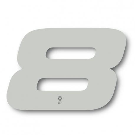 N°8 Numero de plaque YCF Blanc - 117x172mm (vendu par 3)