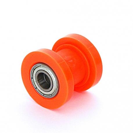 Roulette de chaine teflon guidée - ø10mm Orange