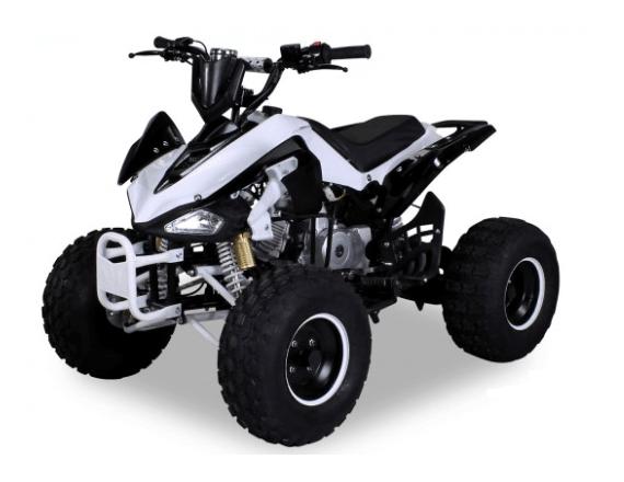 """Quad X Race 125cc 8"""" - Blanc / Noir (Marche arrière)"""